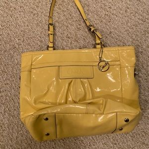 Coach yellow patent leather purse